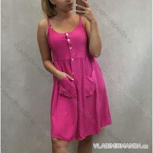 Šaty na ramínka krátké letní dámské s knoflíky a kapsami (uni s/m) ITALSKÁ MÓDA IM719700