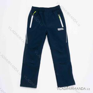 Kalhoty softshellové zateplené flaušem dorost dětské chlapecké (116-146) WOLF B2994A