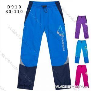 Kalhoty šusťákové zimní zateplené fleecem kojenecké dětské dívčí a chlapecké (80-110) KUGO D910