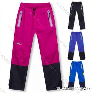 Kalhoty šusťákové zimní zateplené fleecem dětské dorost dívčí a chlapecké (116-146) KUGO D917