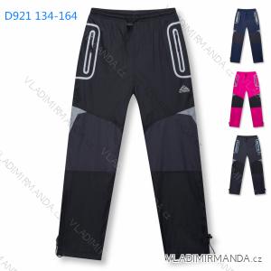 Kalhoty šusťákové zimní zateplené fleecem dorost dívčí a chlapecké (134-164) KUGO D921