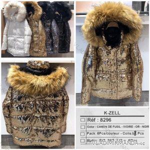 Bunda zimní s kapucí a kožešinou (s-l) K-ZELL ITALSKá MODA KZE198296