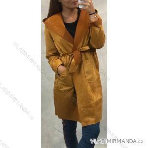 Kabát s kapucí broušená koženka dámský (uni s/m) ITALSKÁ MÓDA IM619036