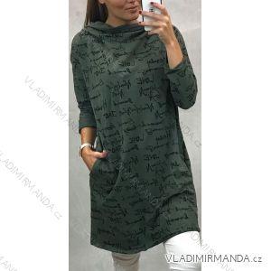 Šaty 3/4 rukáv dámské s goliérem (UNI m-l) ITALSKÁ MÓDA imc191134