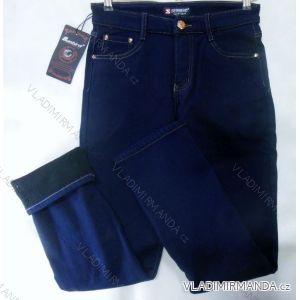 Kalhoty plátěné  teplé dámské flaušová podšívka (30-42) SUN BIRD  HB3025
