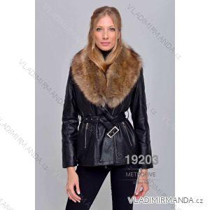 Kožený kabátek zimní s kožíškem dámský (S-2XL) METROFIVE MET19001