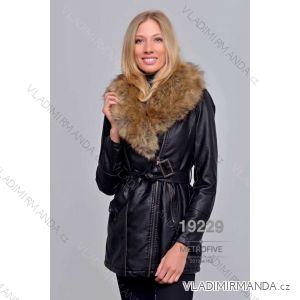 Kožený kabátek zimní s kožíškem dámský (S-2XL) METROFIVE MET19005