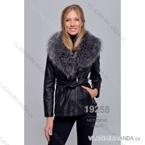 Kožený kabátek zimní s kožíškem dámský (S-2XL) METROFIVE MET19006