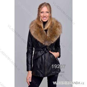 Kožený kabátek zimní s kožíškem dámský (S-2XL) METROFIVE MET19007
