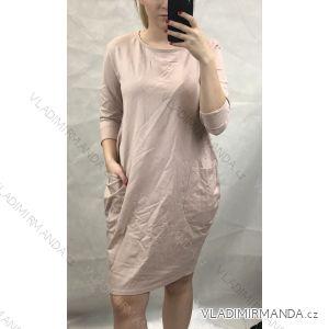 Šaty bavlněné dlouhý rukáv dámské s kapsami nadrozměr (s/m-l/xl) ITALSKá MóDA IMC191309IMT