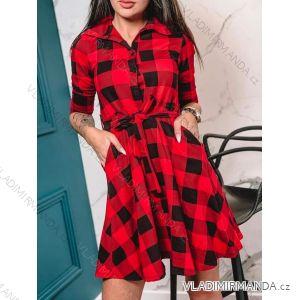 Šaty košilové dlouhý rukáv dámské kostkované (uni s-m-l) ITALSKá MóDA IMC19029C