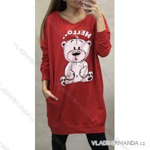 Šaty 3/4 dlouhý rukáv dámské nadrozměr medvídek (uni xl-xxl) ITALSKá MóDA IM419005