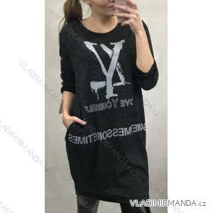 Šaty oversize 3/4 dlouhý rukáv teplé volnočasové dámské (uni m-l) ITALSKÁ MÓDA IM4191113