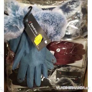 Rukavice prstové teplé s kožíškem dámské (ONE SIZE) SANDROU SZM294MT
