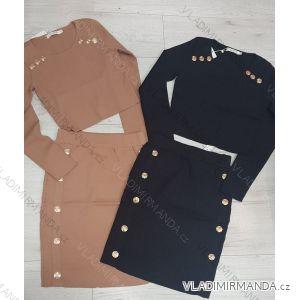 Souprava se cvočky tričko dlouhý rukáv a sukně (s-xl) Polská moda JMK19047