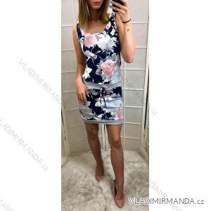 Šaty mini letní na ramínka dámské květované (uni s/m) Italská móda IMC19760IM1