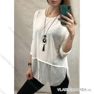 Tunika 3/4 rukáv s všitou košilí dámská se šperkem (uni s-m) ITALSKá MóDA IM720030