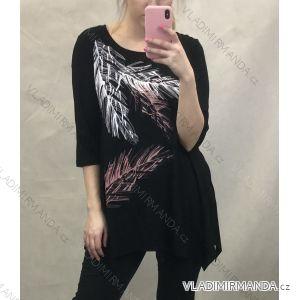 Tunika tričko nadrozměr 3/4 rukáv (46-56) POLSKÁ MÓDA PM620003 černá