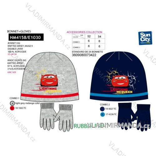 cac7440f8 Set čiapky a rukavice detské chlapčenské cars (52-54) SUN CITY HM4167