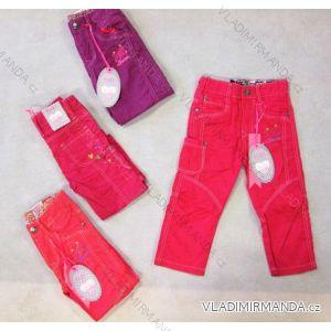 Kalhoty plátěné jarní v pase guma kojenecké a dětské dívčí bavlněné (86-110) KUGO JK032